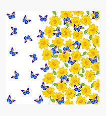Cute abstract sunflower blue yellow butterfly  Photographic Print