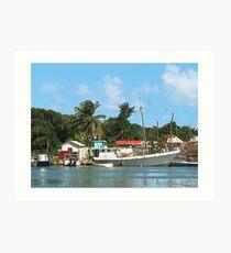 Docked Boats at Antigua Art Print