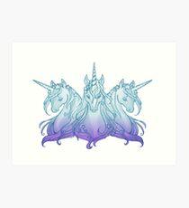 Unicorn trio blue/violet Art Print