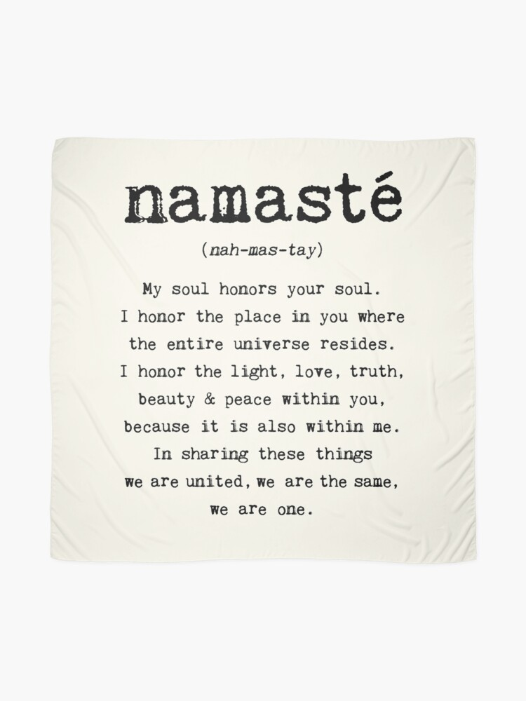 Alternative Ansicht von Namaste. Tuch