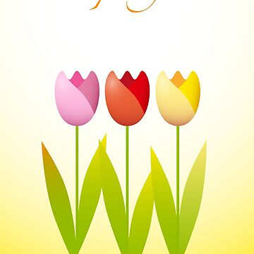 Three colorful tulips on a spring background by MaxalTamor