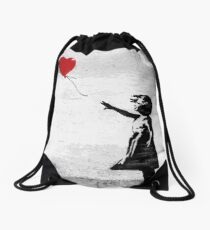 Banksy - Girl with a balloon Drawstring Bag