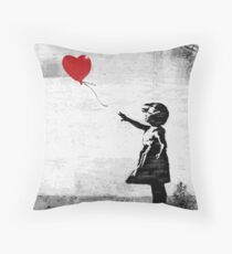 Banksy - Girl with a balloon Throw Pillow