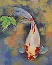 Koi with Japanese Maple Leaf by Michael Creese
