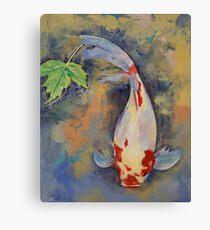 Koi with Japanese Maple Leaf Canvas Print