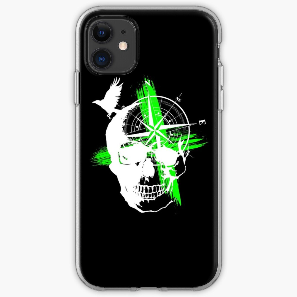 Skull compass tattoo style iPhone Case & Cover