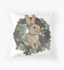 Winter Rabbit Throw Pillow