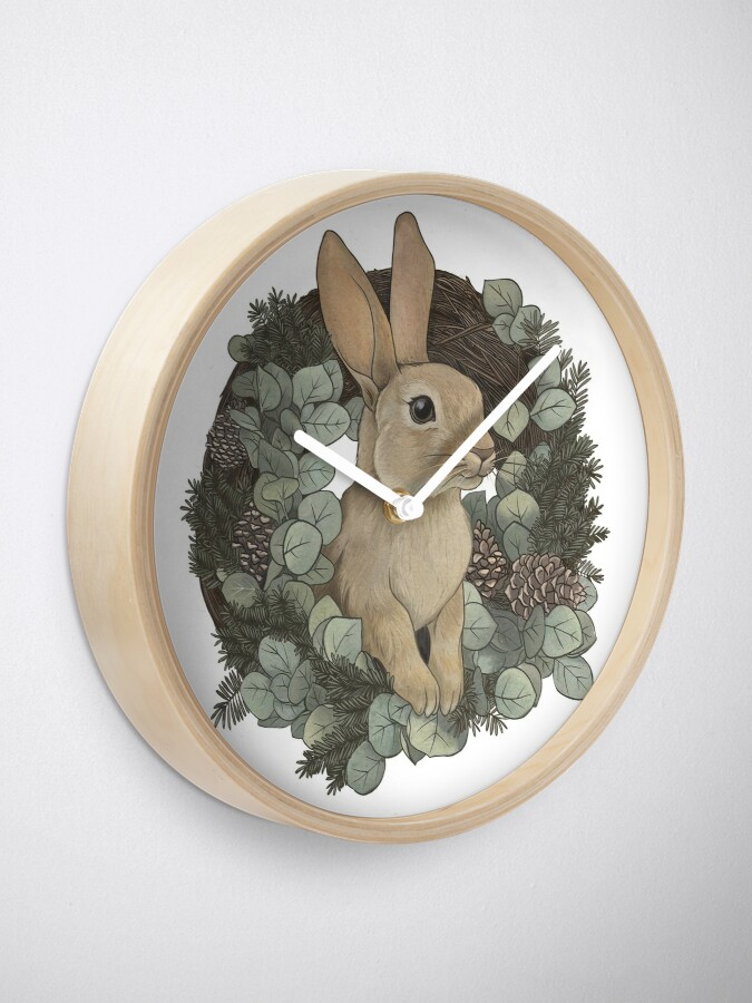 Alternate view of Winter Rabbit Clock