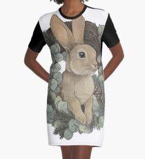 Winter Rabbit Graphic T-Shirt Dress