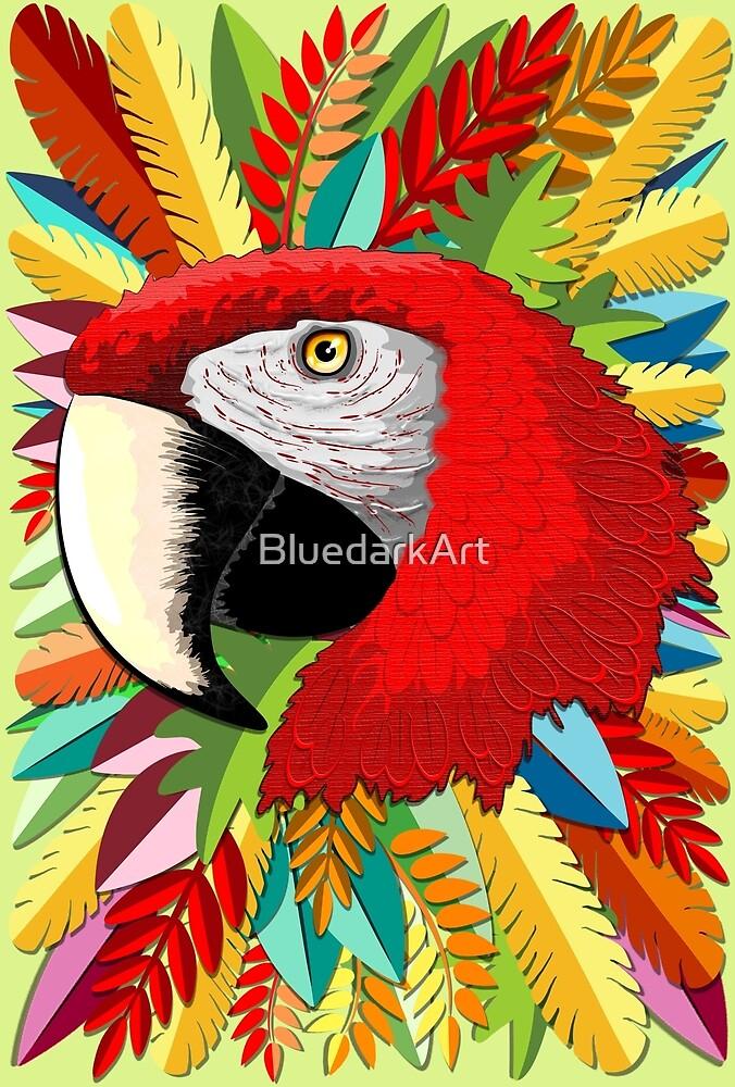 Macaw Parrot Paper Craft Digital Art by BluedarkArt