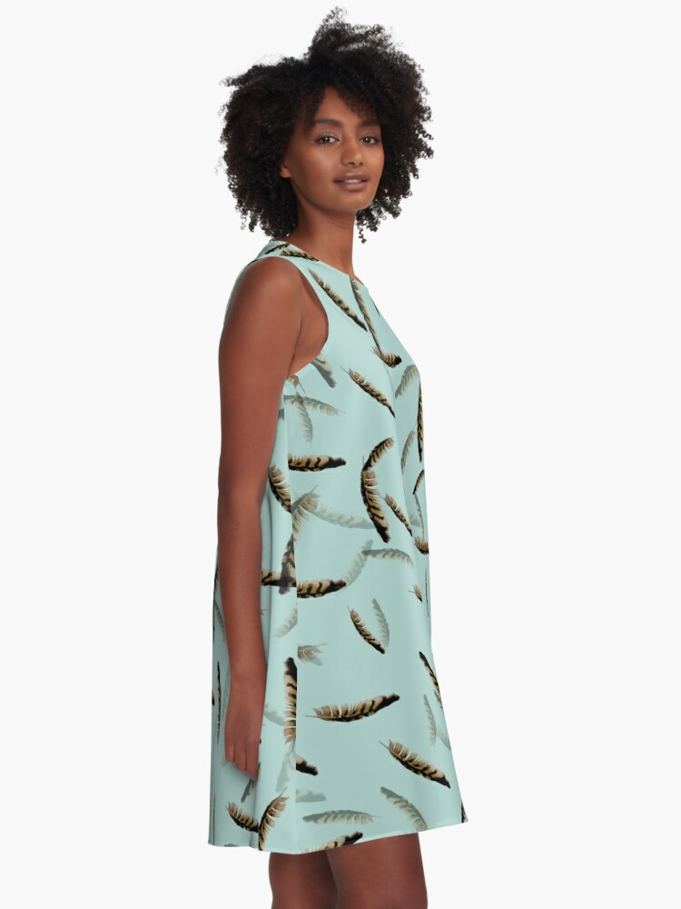 Alternate view of Feathers on blue A-Line Dress