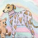 Greyhound Dog in her Pyjamas  by SusanAlisonArt