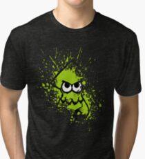 Splatoon Black Squid with Blank Eyes on Green Splatter Mask Tri-blend T-Shirt