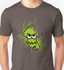 Splatoon Black Squid with Blank Eyes on Green Splatter Mask Unisex T-Shirt