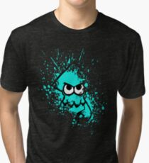 Splatoon Black Squid with Blank Eyes on Cyan Splatter Mask Tri-blend T-Shirt