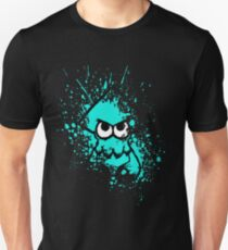 Splatoon Black Squid with Blank Eyes on Cyan Splatter Mask T-Shirt