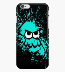 Splatoon Black Squid with Blank Eyes on Cyan Splatter Mask iPhone 6 Case
