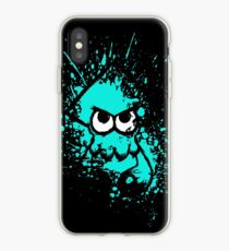 Splatoon Black Squid with Blank Eyes on Cyan Splatter Mask iPhone Case