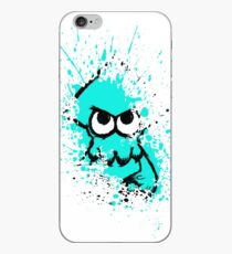 Splatoon Black Squid with Blank Eyes on Cyan Splatter Mask White Version iPhone Case