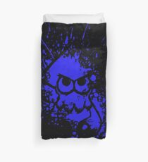 Splatoon Black Squid on Blue Splatter Mask Duvet Cover