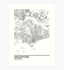 Singapore map poster print wall art, Singapore gift printable, Home and Nursery, Modern map decor for office, Map Art, Map Gifts Art Print