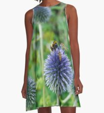 The Buzz in the Garden Blue Globe Flowers A-Line Dress