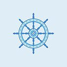 AFE Ship Wheel Light Blue, Nautical Art by Amalia Ferreira-Espinoza