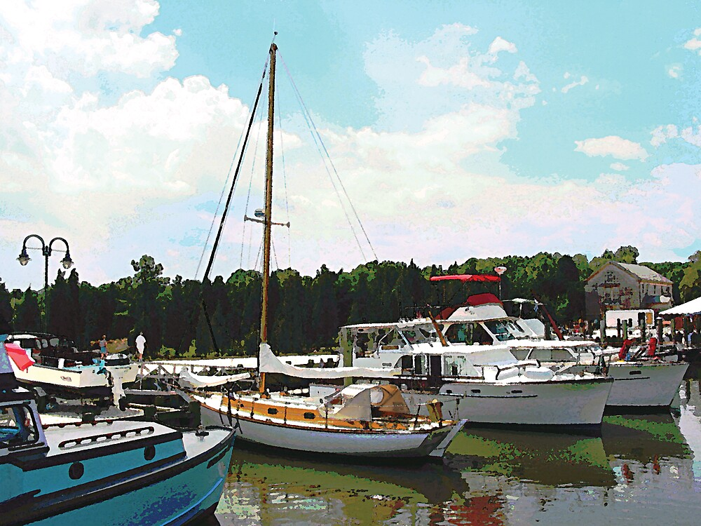 Tuckerton Seaport Docked Cabin Cruisers by Susan Savad