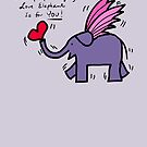 Flying Purple Love Elephant by Beth A.  Richardson