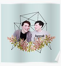 Dan and Phil Pastel Floral & Constellation Print Poster