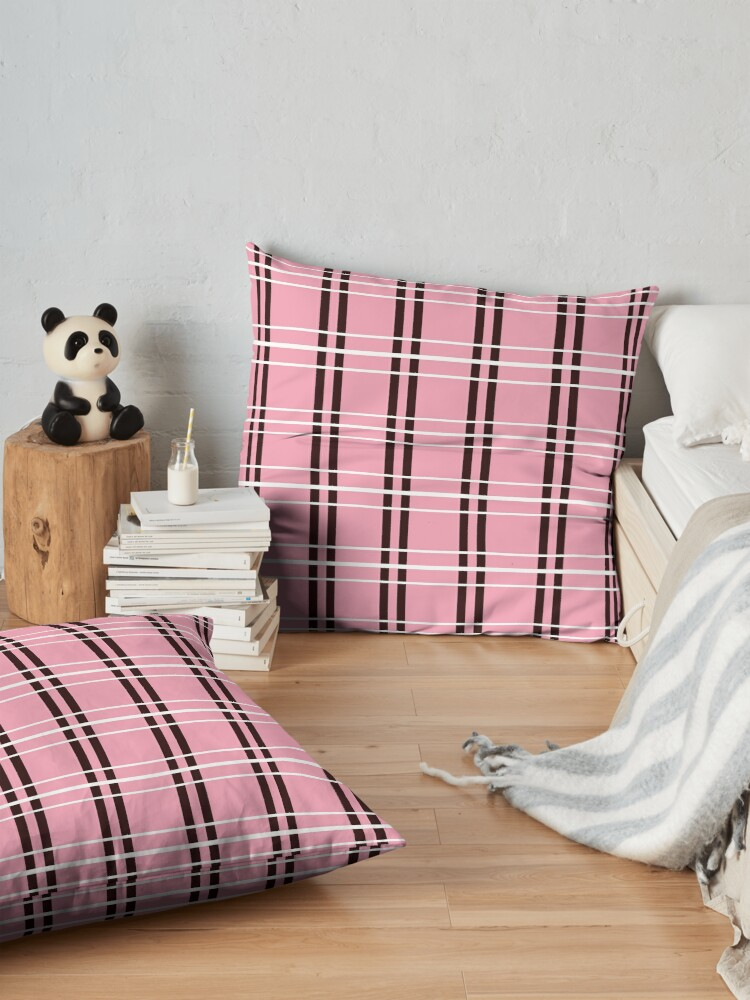 Alternate view of Pink with Black and White Checker Pattern Floor Pillow