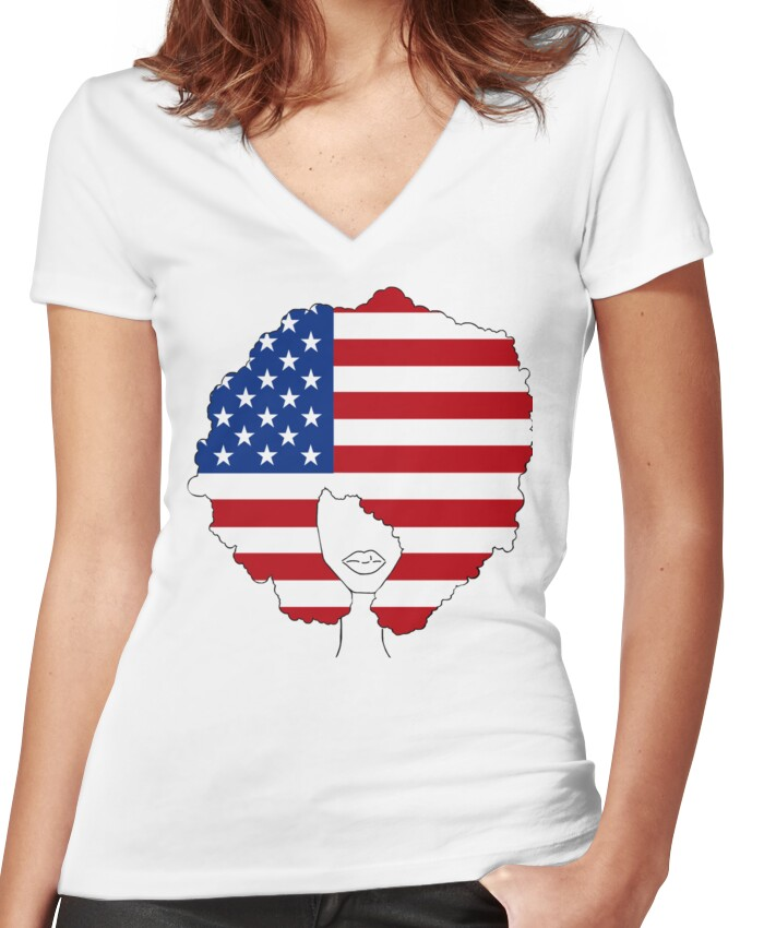 I Am America - American Flag Afro  Women's Fitted V-Neck T-Shirt