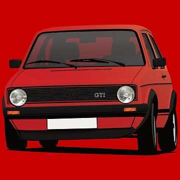 Golf GTI Mk1 cornering - red - illustration by knappidesign