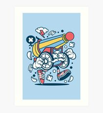 Cannon Ball Run Cartoon Character - Fun graphic for people who like things a little crazy! Art Print