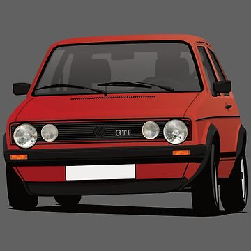 VDUB Golf GTI MK1 cornering - with fog lights - red by knappidesign