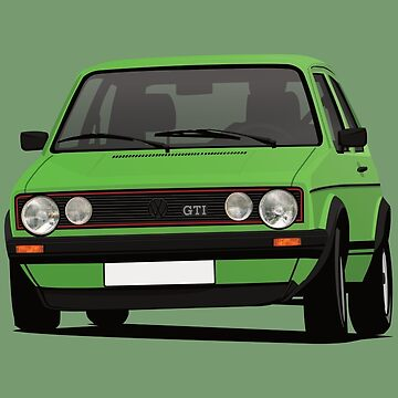 Golf GTI Mk1 cornering - with fog lights - green by knappidesign