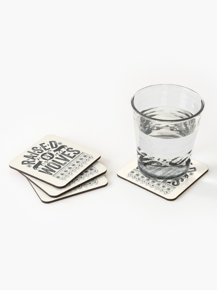 Alternate view of Raised By Wolves {Black + White} Coasters (Set of 4)