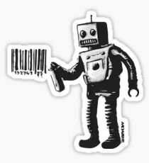 Banksy smiling Robot and barcodes Better Out Than In New York City residency black and white HD HIGHT QUALITY ONLINE STORE Sticker