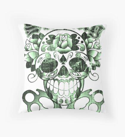 Wisconsin Skinny Sugar Skull Throw Pillow