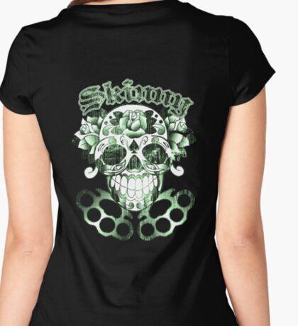 Wisconsin Skinny Sugar Skull Women's Fitted Scoop T-Shirt