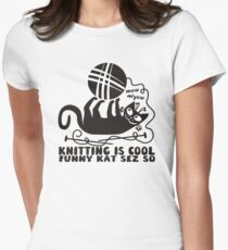 Black white knitting is cool funny derpy cat says so T-Shirt