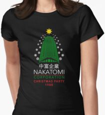 Nakatomi Corporation Christmas Party Snowflake Tower Women's Fitted T-Shirt