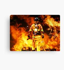fireman go into flames with brave steps, no fear no regrate, all proude Canvas Print