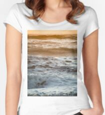 Pretty Pink and Orange Pacific Ocean Sea Waves Sunset IV Women's Fitted Scoop T-Shirt