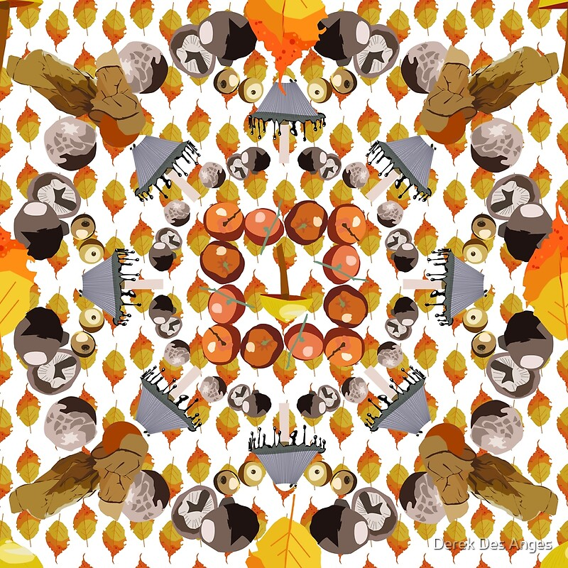 A very convoluted tiling pattern of mushrooms, oranges, apples, physalis and autumn leaves