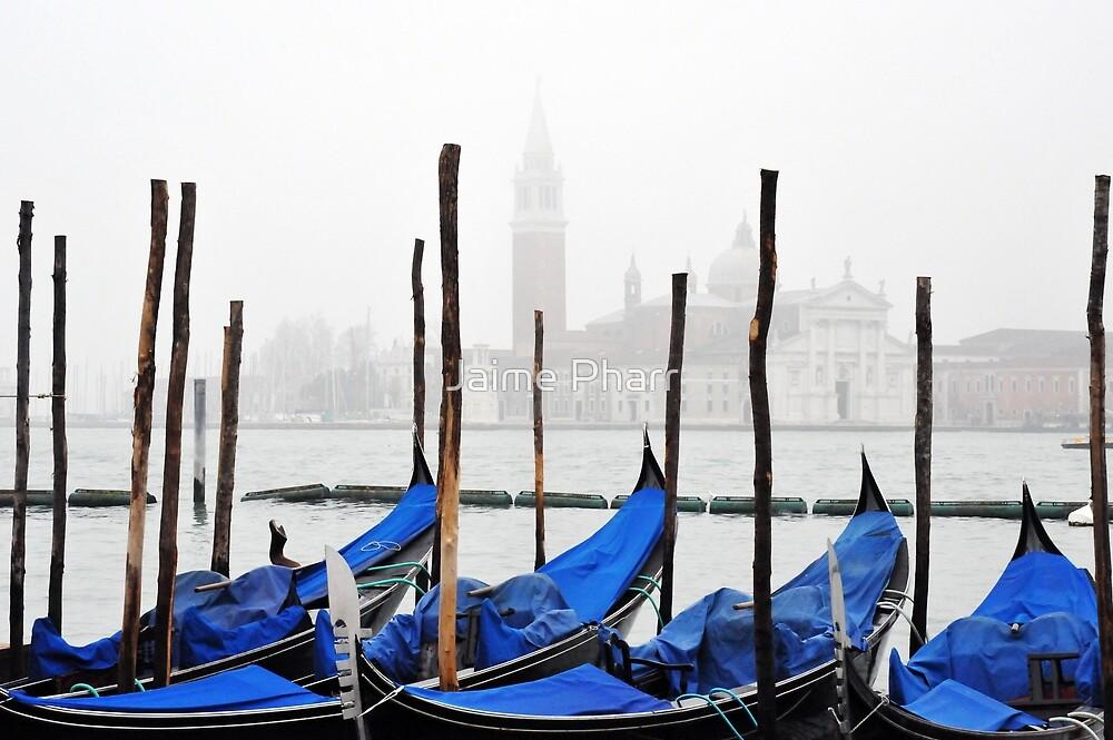 Venice gondolas in the fog by Jaime Pharr