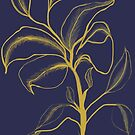 Golden Flower on Navy Blue by plumecloth