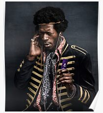 Modern Jimi Hendrix with an Ipod Poster