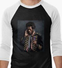 Camiseta ¾ bicolor para hombre Jimi Hendrix moderno con un iPod