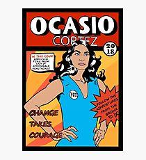 Alexandria Ocasio Cortez Comic Print Photographic Print